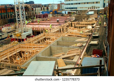 Tampere, Finland - November 20 2018:  Tampere Deck and Arena project construction site.