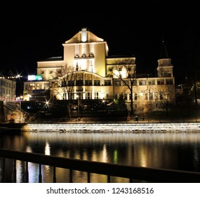 Tampere, Finland - November 26 2018:  Night view of the Tampere Theatre on the Central Square of Tampere. Tampere Theatre is one of the oldest theatres in Finland, founded in 1904.