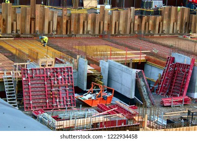 Tampere, Finland - November 5 2018:  Tampere Deck and Arena project construction site.