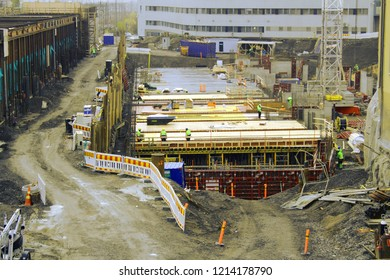 Tampere, Finland - October 25, 2018: Tampere Deck and Arena project construction site