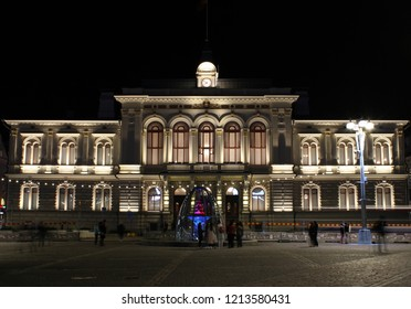 Tampere, Finland - October 26, 2018: Night view of the Tampere City Hall on the Central Square of Tampere, Finland