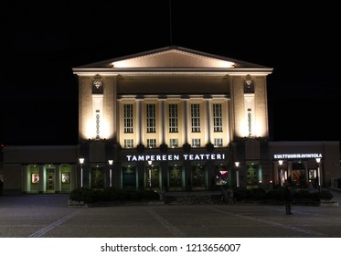 Tampere, Finland - October 26, 2018:  Night view of the Tampere Theatre on the Central Square of Tampere. Tampere Theatre is one of the oldest theatres in Finland, founded in 1904.