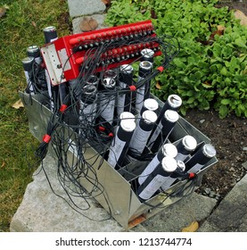 Tampere, Finland - October 26, 2018: Basic field firework system, one field module inside connection device for the pyrotechnic product and pyrotechnic  products.