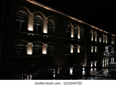 Tampere, Finland - October 26, 2018: Exterior of the landmark Finlayson Textile Factory City In Tampere at night.