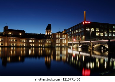 Tampere, Finland - October 29, 2018: Exterior of the landmark Finlayson Textile Factory City In Tampere at night.