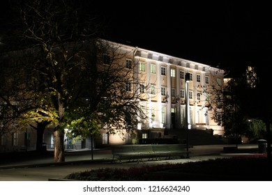 Tampere, Finland - October 29, 2018:  Tampere's old library at night,  now a culture center.
