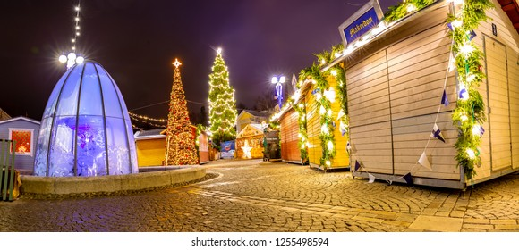 Tampere, Finland-12.06.2018: Traditional christmas market in the historic center of Tampere, Finland