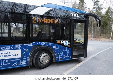 TAMPERE/FINLAND - APRIL 29, 2017; Modern electric bus in Tampere.