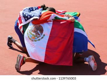 TAMPERE,FINLAND, July 14:ROBERTO VILCHES (MEX), ANTONIOS MERLOS (GRE) - gold, BREYTON POOLE (RSA), JUVAUGHN BLAKE (USA)-bronze in high jump on IAAF World U20 Championship Tampere, Finland 14 July,2018