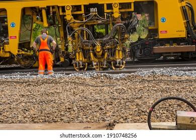 A tamping machine works in a track, germany, 01.07.2020, Lübbenau