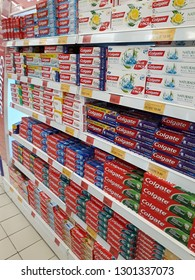 Tampin,Negeri Sembilan, Malaysia. January 27, 2019: Colgate toothpaste manufactured by the American consumer-goods conglomerate Colgate-Palmolive, Colgate oral hygiene products.