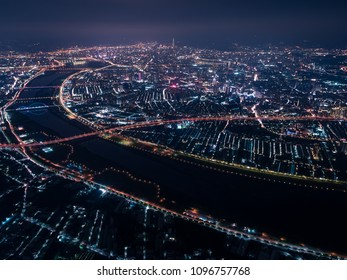 Tamsui River Night View - Famous river of Taiwan. Aerial photography use the drone at night in New Taipei, Taiwan.