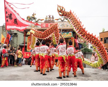 TAMSUI,TAIWAN- June 21:The Dragon Dance Show in Culture Festival of Tamsui Shing Shuei Yan on June 21,2015 in Tamsui,Taipei,Taiwan. The fair held annually for honor of the Ching-Shui Master.
