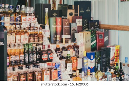 Tamu, Sagaing Region / Myanmar - November 02, 2018: Liquor Boutique in the town of Tamu, the trading center between India and Myanmar, bordering the state of Manipur in India