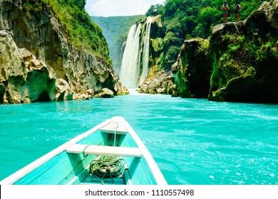 Tamul waterfall canyon view from the boat. San Luis Potosi, Huasteca potosina, Mexico.