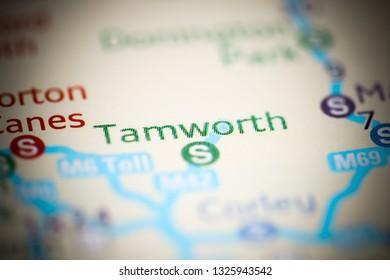 Tamworth. United Kingdom on a geography map