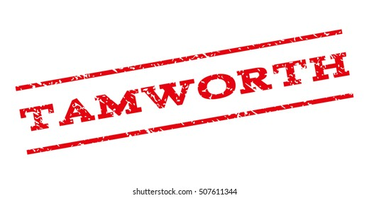 Tamworth watermark stamp. Text tag between parallel lines with grunge design style. Rubber seal stamp with dirty texture. Glyph red color ink imprint on a white background.