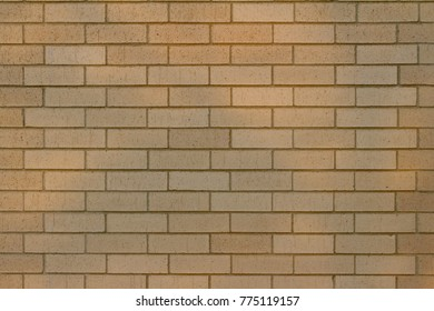 Tan brick wall background with 1/3 running bond pattern reflecting cloud-filtered light