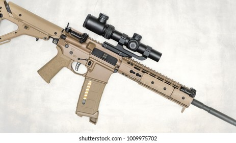 Tan FDE Rifle on white with overlay profile