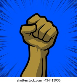 tan fist with blue background