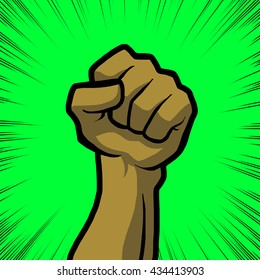 tan fist with green background