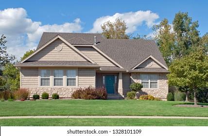 Tan House in Early Fall