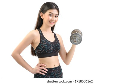 Tan Skin Asian Fitness Girl in Sexy Cute Sport Bra black spandex pants Exercise warm up. Practice dumbbell lifting posture. By isolated white background.