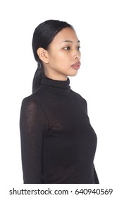 Tan Skin Asian Woman before make up. no retouch, fresh face with acne in studio lighting white background