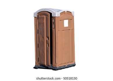 Tan and White Outhouse