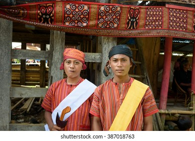 Tana Toraja, Indonesia - Dec 10, 2015:  Unidentified boys in traditional clothes at funeral ceremony.