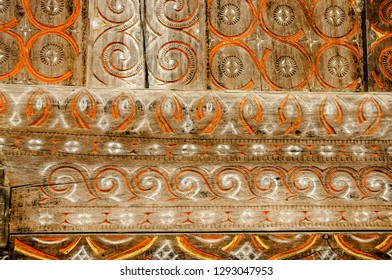 TANA TORAJA, RANTEPAO, SULAWESI - OCT 21,2009: elaborate inlays and colorful designs adorn the facades of the traditional Toraja houses, in the valleys around Rantepao on 21 October 2009.