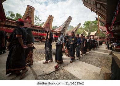 TANA TORAJA, SULAWESI, INDONESIA - November 25: Funeral ceremony on November 25, 2016 in Tana Toraja, Sulawesi, Indonesia
