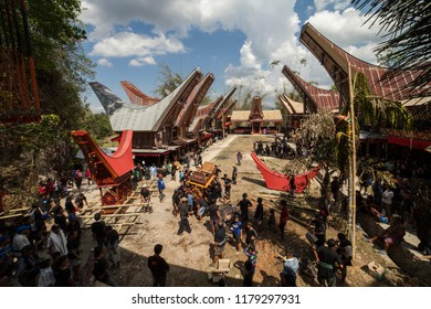 TANA TORAJA, SULAWESI, INDONESIA - November 26: Funeral ceremony on November 26, 2016 in Tana Toraja, Sulawesi, Indonesia