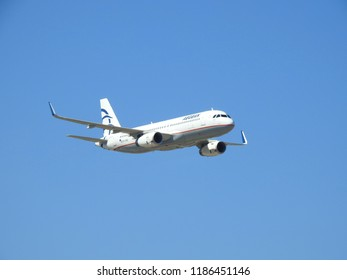 Tanagra airport,  Athens / Greece - September 23 2018: A photograph of Aegean Airbus A320 flying for the 7nth Athens Flying Week airshow