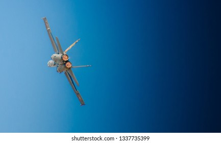 Tanagra airport, Athens - Greece, September 2018: Swiss Air Force, with its F-18 Hornet demonstrating extreme aerobatics at the 7th Athens Flying Week airshow over Athens, Greece