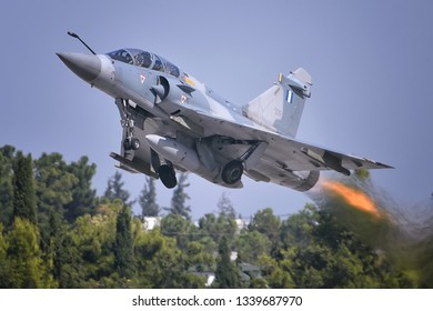 Tanagra, Athens / Greece - September 17 2017 : Greek Air Force Mirage 2000-5 takes off in Athens Flying Week