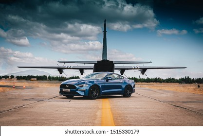TANAGRA, ATHENS - SEPTEMBER 22 2019: Side shot of a Ford Mustang Gt 2019 at Tanagra airport during the 8th Athens Flying Week 2019 Airshow.