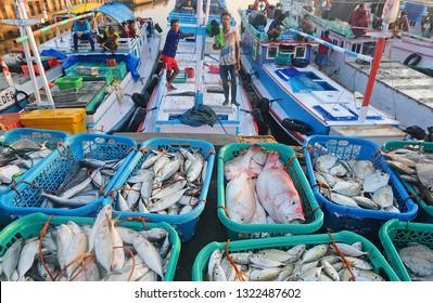 Tanah Bumbu, South Kalimantan, Indonesia, 2 - November - 2014: activities at the port which is a fish market