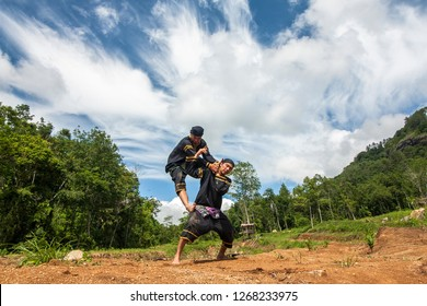 Tanah Datar, Indonesia-December 27, 2018: two fighters showing traditional martial arts attractions originating culture from the Minangkabau, West Sumatera