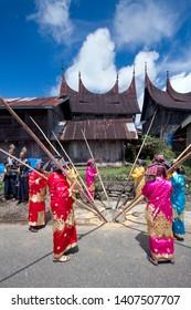 Tanah Datar, West Sumatra / Indonesia - May 5, 2013 : Alu Katentong tradition is a Minangkabau culture from Tanah Datar of West Sumatra
