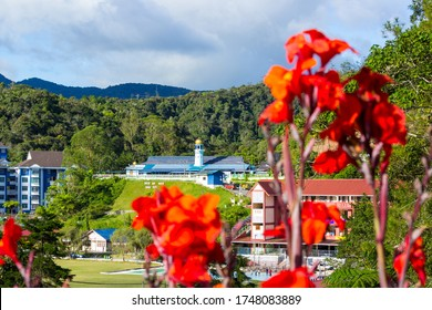 TANAH RATA, MALAYSIA - JANUARY 1, 2020: Masjid Abu Bakar and Apartments on the Edge of the Lush Rainforest of the Cameron Highlands