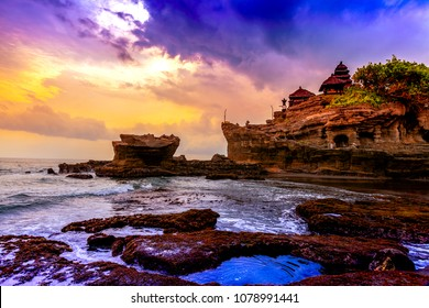 Tanah Lot water temple in Bali. Indonesia nature landscape. Famous Bali landmark