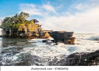 Tanah Lot water temple in Bali. Indonesia nature landscape. Tanah Lot temple in daylight, Bali island. Popular temple of Bali, Indonesia landmark. Famous Bali water temple. travel concept photography