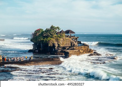 Tanah Lot water temple in Bali island, Indonesia. Outdoor Indonesia nature landscape. Tanah Lot water temple, Bali. Temple landmark in Bali, Indonesia. Bali water temple. Famous Indonesia water temple