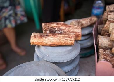 Tanaka is Burmese tradition cosmetic made from bark of tanaka tree
