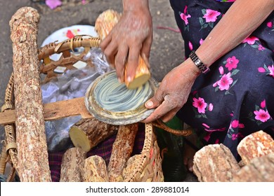 Tanaka for skin care the traditional of Myanmar. Tanaka is Burmese tradition cosmetic made from bark of tanaka tree.