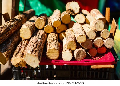 Tanaka wood used as tradition cosmetic for sale at rural market in Myanmar