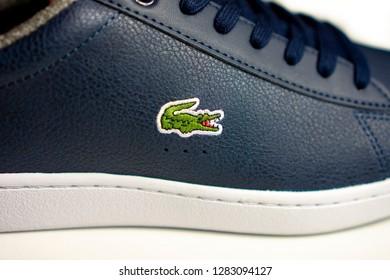 Tanakajd, Hungary - 01. 13. 2019 :Closeup of Lacoste brand Shoes
