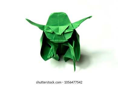 Tanakajd / Hungary - 03.28.2018: green paper origami work of a star wars fun about master Yoda