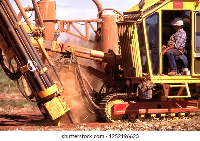 Tanami Desert, Australia, May 20, 1985:A mobile drilling rig, drilling core samples on a gold mining lease in the Tanami Desert, Northern Territory, Australia
